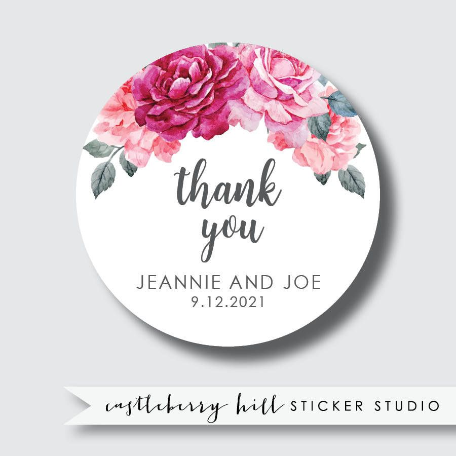 Fl Wedding Stickers Thank You Custom Labels Vintage Style Decor Sizes This Design Is Available As 2 Round