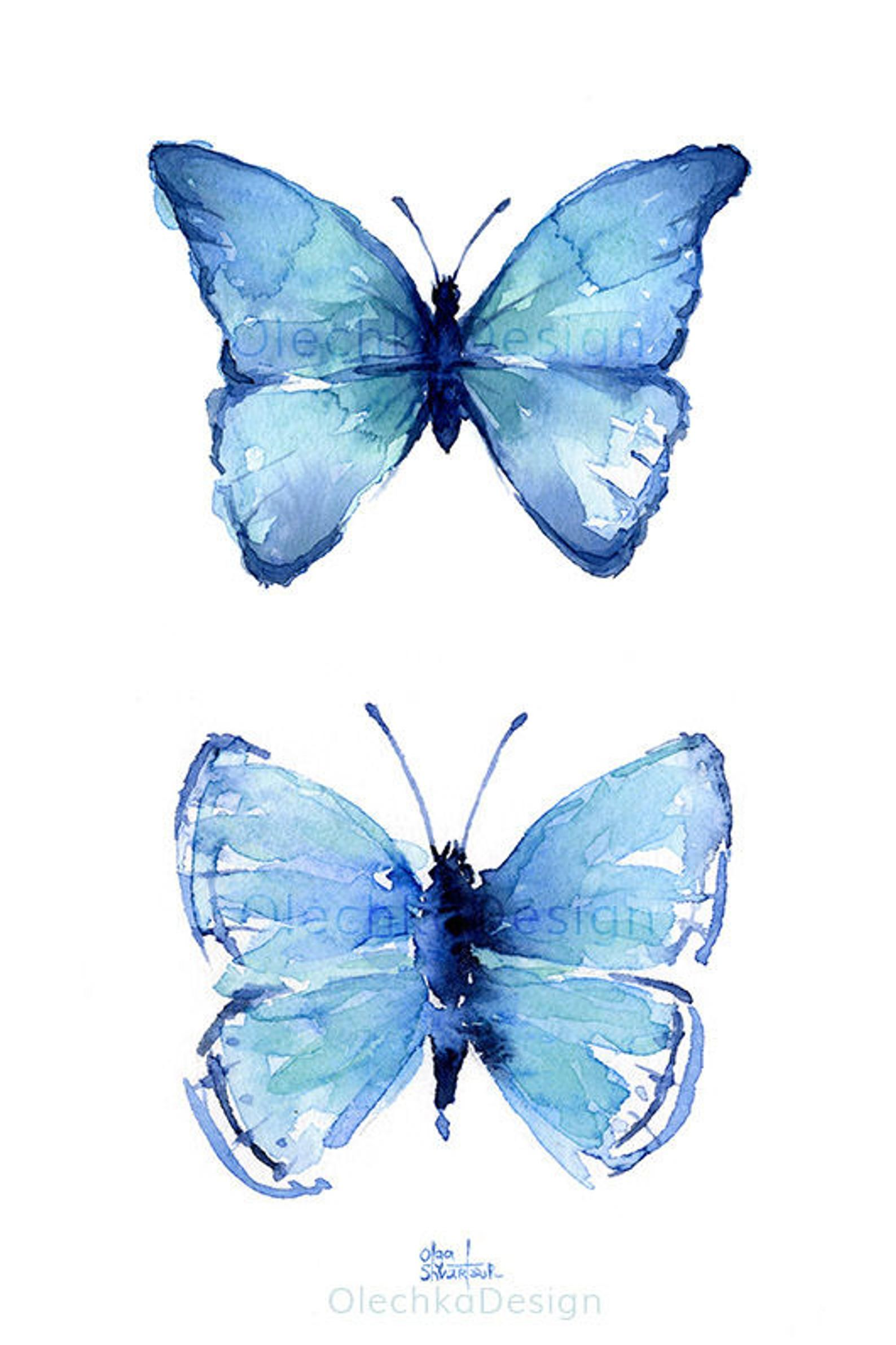 Butterfly Wall Art Blue Butterflies Watercolor Art Print Two