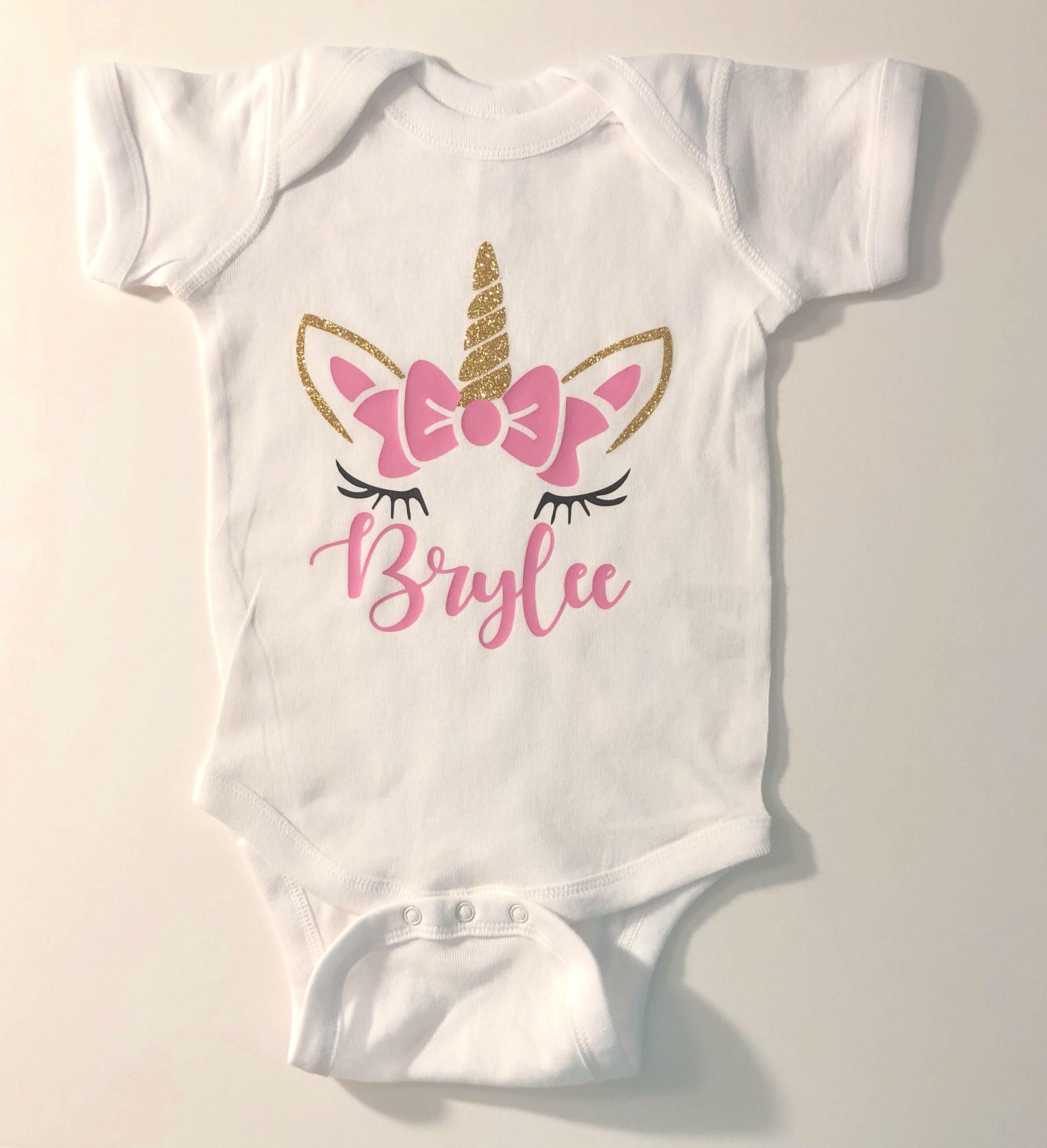 Unicorn Birthday Shirt With Bow And Horn For Girls Pink Gold First Bodysuit Customized Outfit One Year