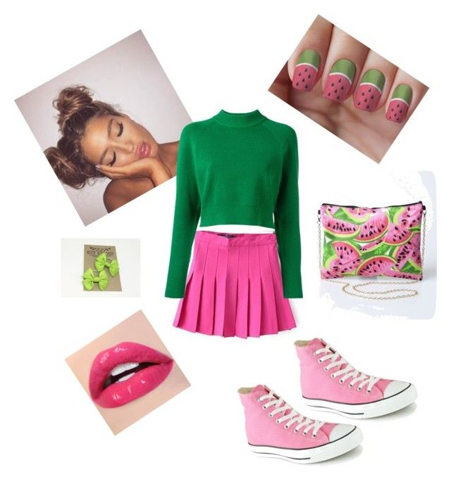 """""""watermelon"""" by kelsey-bolfing ❤ liked on Polyvore featuring DKNY, Converse, Summer, Spring, flirty and watermelon"""