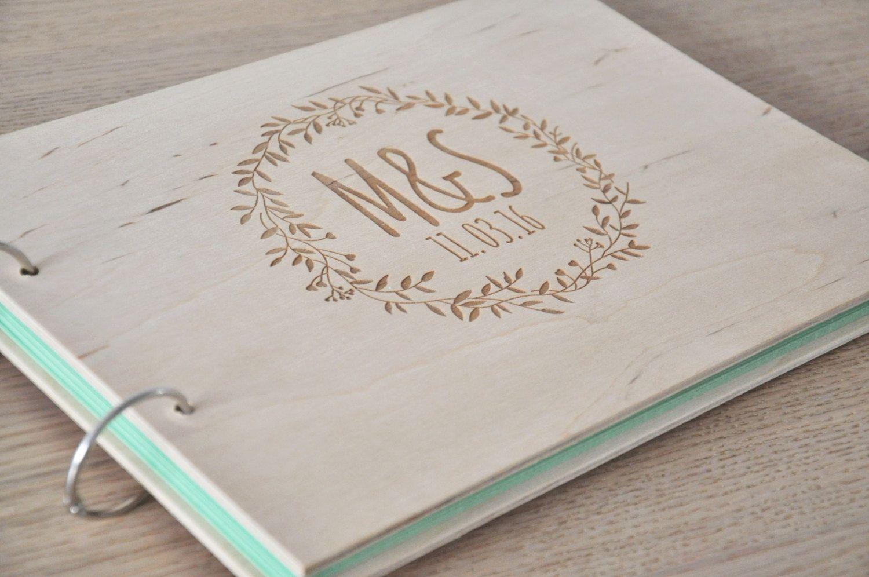 Large A4 Personnalisé Mariage Livre d/'or Scrapbook Album en bois A4