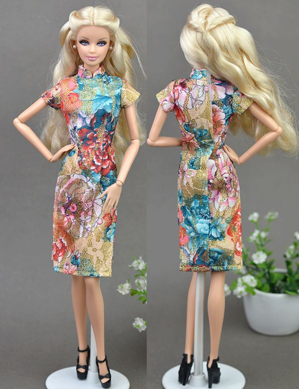 High Quality Handmade Colorful Dress Clothes For Barbie Doll Cheongsam  Chinese Traditional Dress Vestido Qipao Evening 323d814259a3