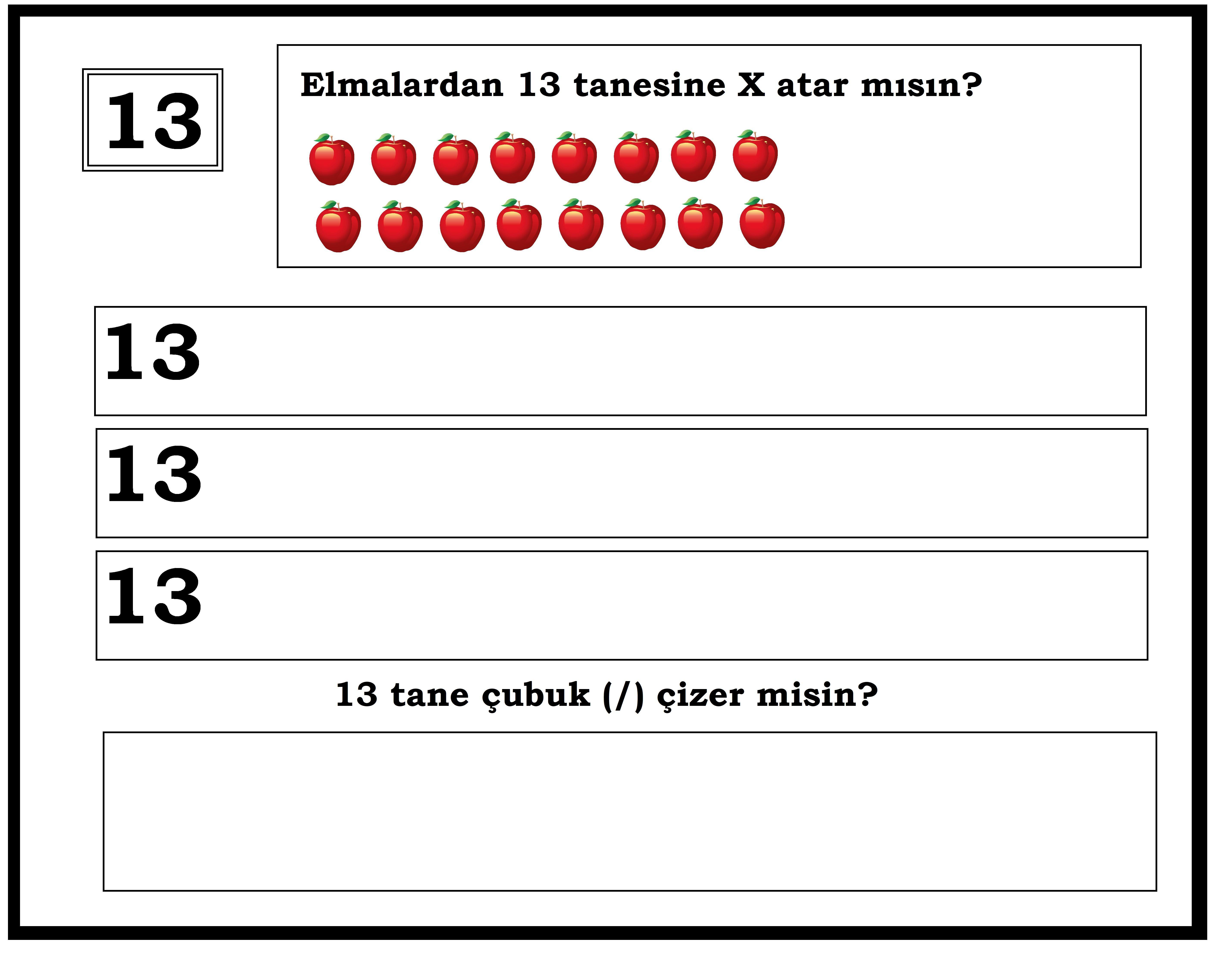 Okul Oncesi 13 Sayisi Matematik Okul Okul Oncesi