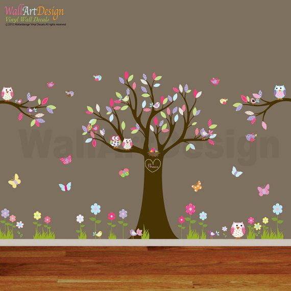 Nursery Playroom Owl Tree Bird Vinyl Wall Art Decals Mural