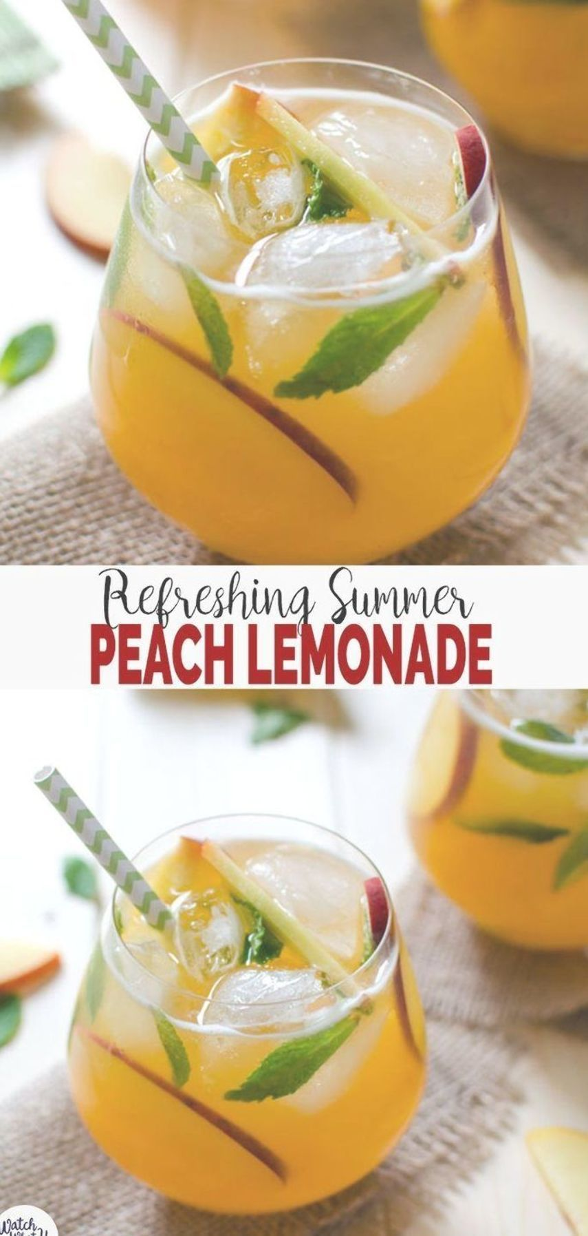 Try this refreshing easy peach lemonade recipe to enjoy utilize fresh peaches of the season. Healthy naturally sweetened & non-alcoholic summer drink. | #watchwhatueat #lemonade #peaches #nonalcoholic #healthydrink #easylemonaderecipe