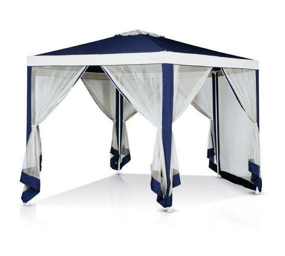 Buy Argos Home 4m Hexagonal Garden Gazebo With Side Panels Blue