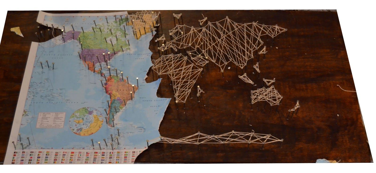 DIY: String Art World Map | Ideas for the House | Pinterest