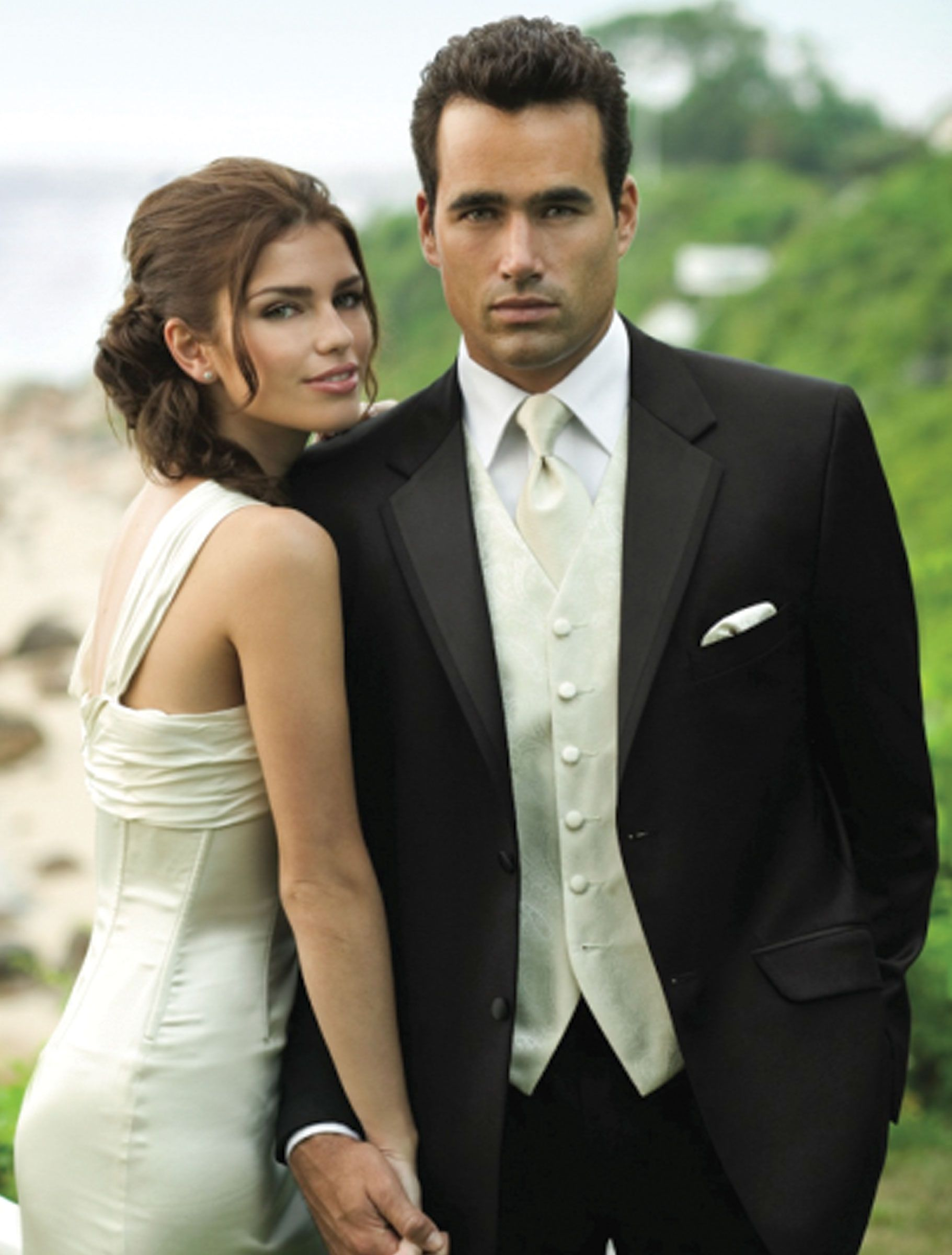 Tux For The Groom Black Tux White Shirt Ivory Vest And Tie To Match My Gown Wedding Tux Black Tux Tuxedo Wedding