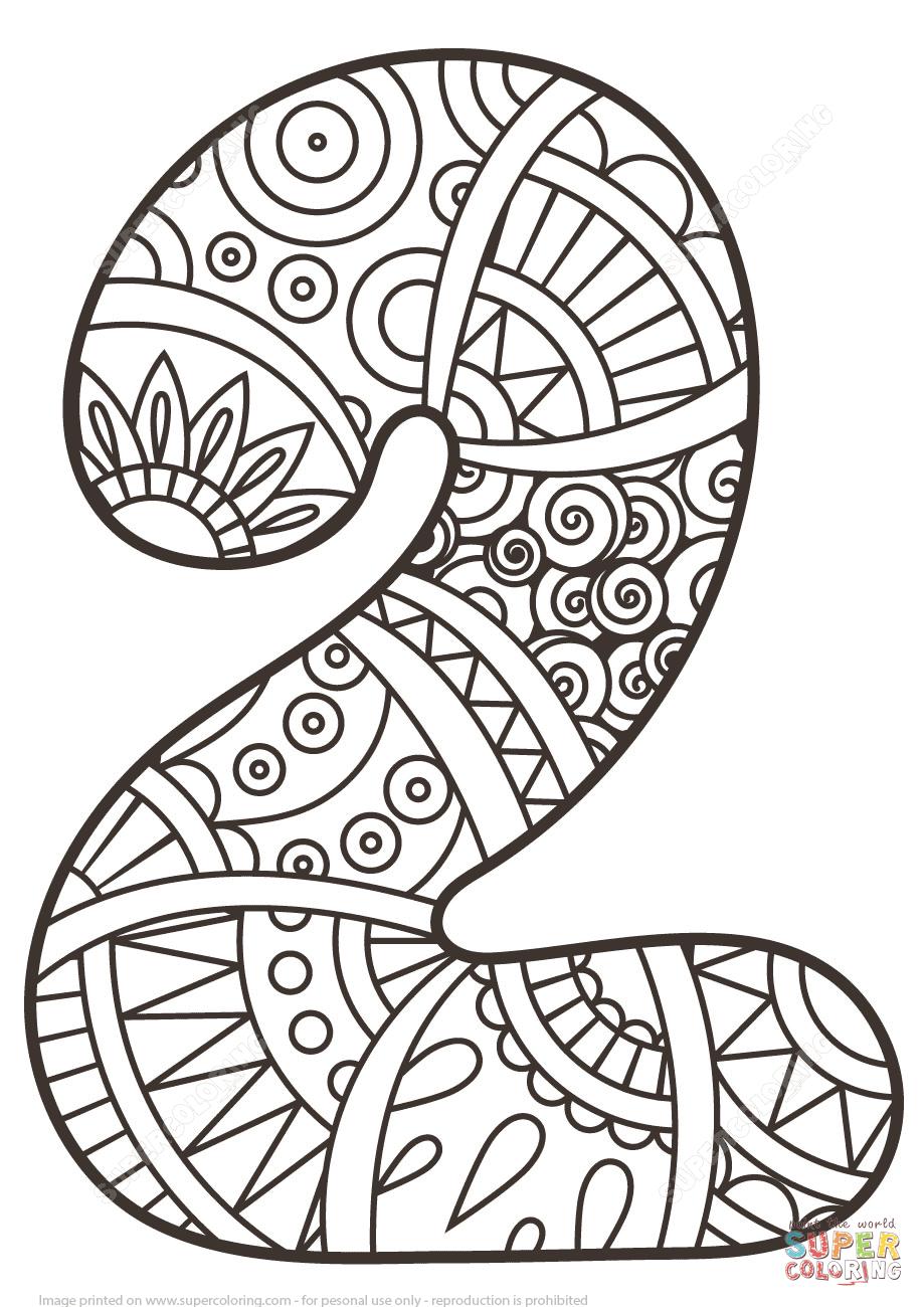 Número 2 Zentangle Dibujo para colorear. Categorías: Números ...