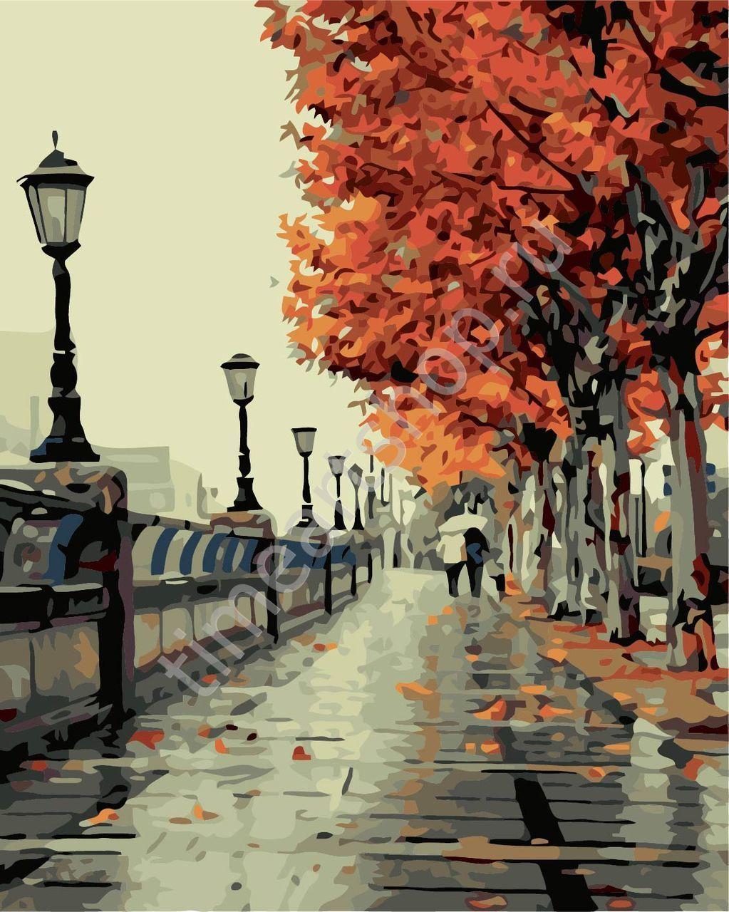 Осенняя аллея с фонарями, картины раскраски по №, 40х50см ...
