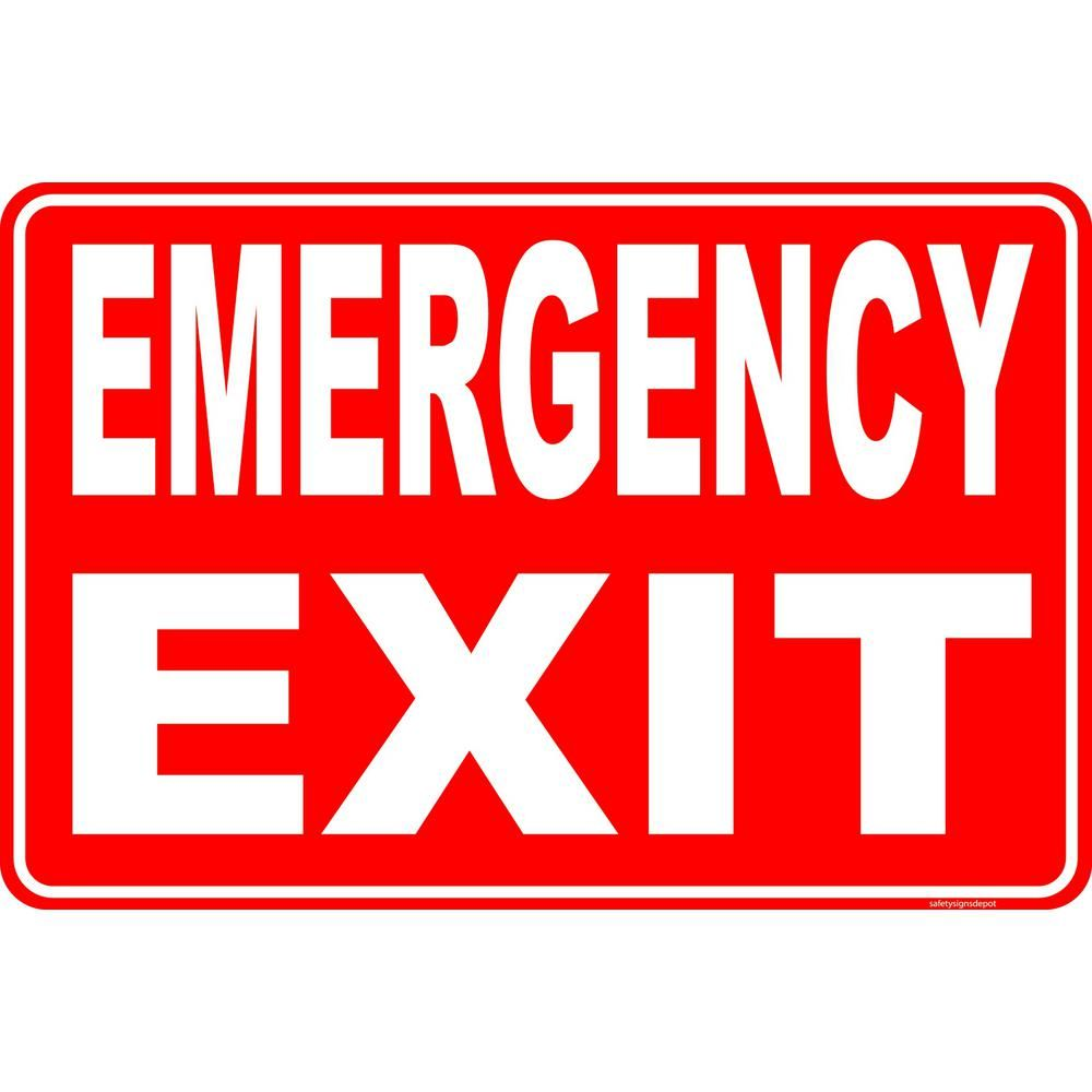 Promodor Cia Ltd 8 In X 12 In Plastic Emergency Exit Egress Sign Red In 2020 Emergency Exit Signs Exit Sign Egress