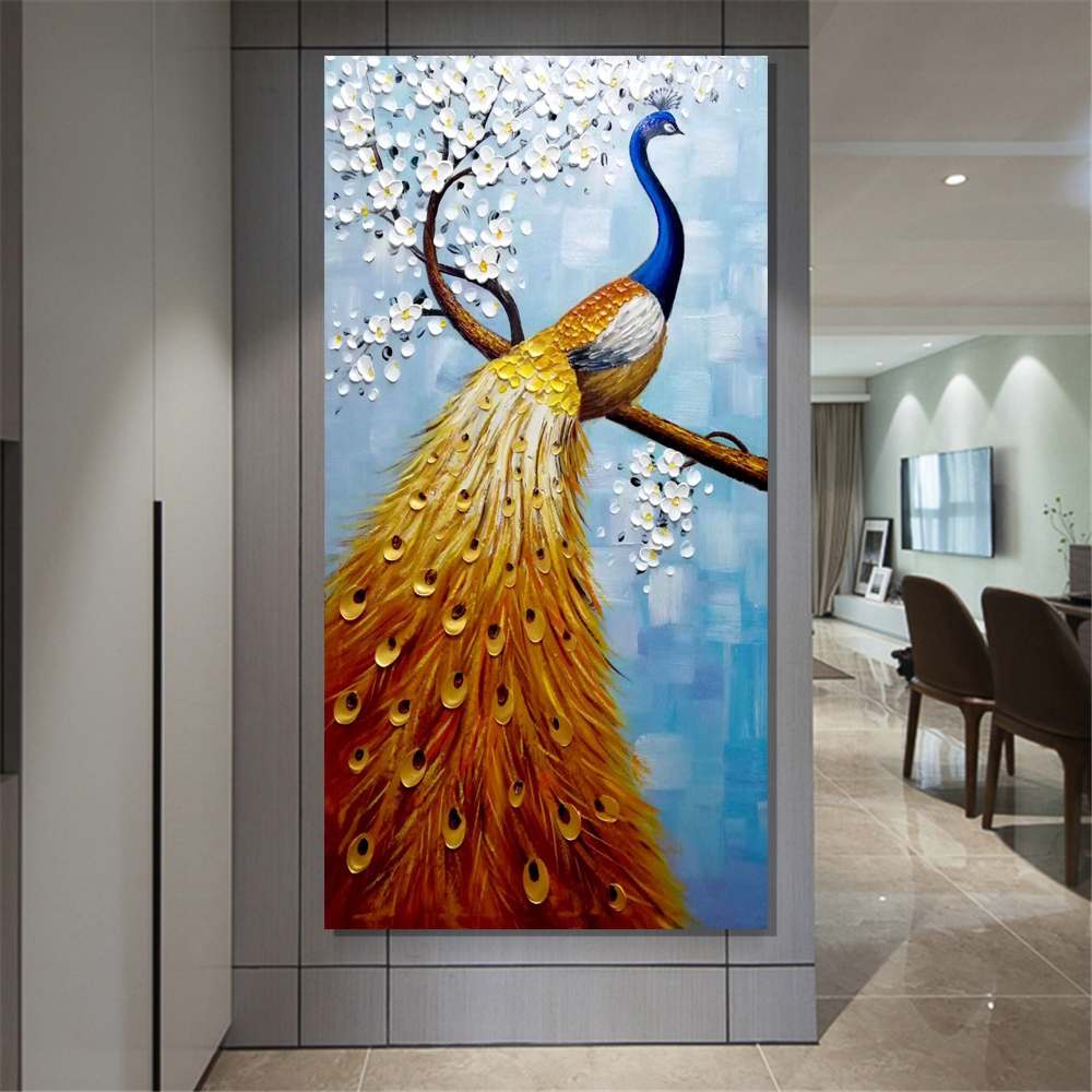 Modern Beatiful Handmade Wall Art 3d Peacock Duck Hand Drawn Oil Painting On Canvas Buy 3d Painting On Canvas Handmade Wall Art Acrylic Painting Inspiration