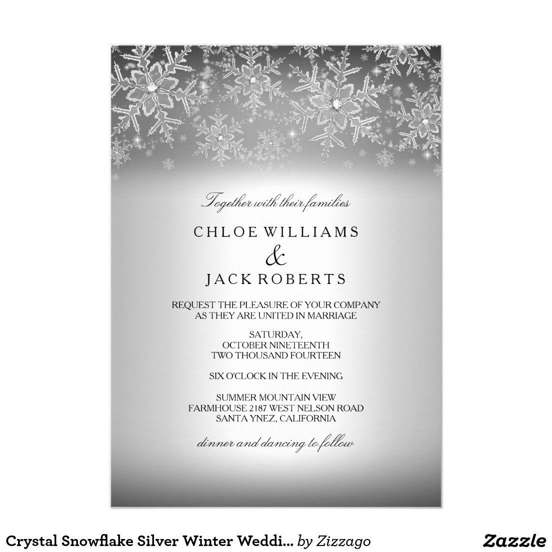 Winter Wedding Invitations Cheap: Crystal Snowflake Silver Winter Wedding Invitation