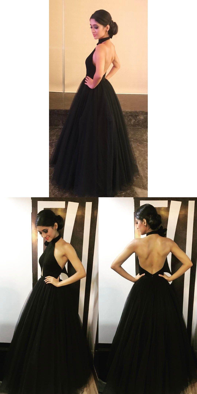 Black tulle evening dress backless elegant formal gowns new design