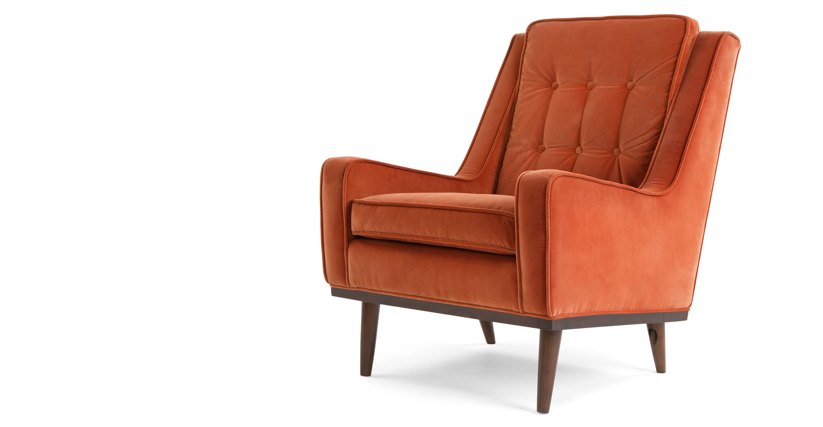 Made Burnt Orange Cotton Velvet Armchair Armchair Orange Accent