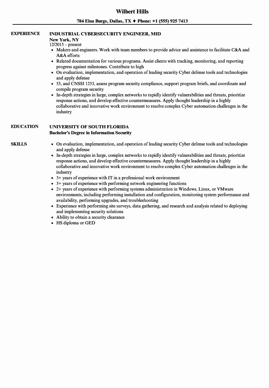 Cyber Security Resume Example Beautiful Cybersecurity Engineer Mid Resume Samples In 2020 Security Resume Resume Examples Cyber Security