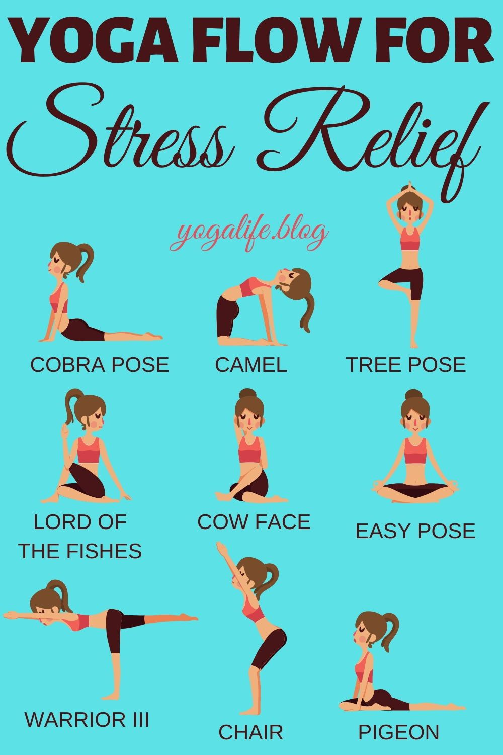 10 Easy Poses For Stress Relief Yoga Life Yoga For Stress Relief Yoga Sequence For Beginners Yoga Workout Routine