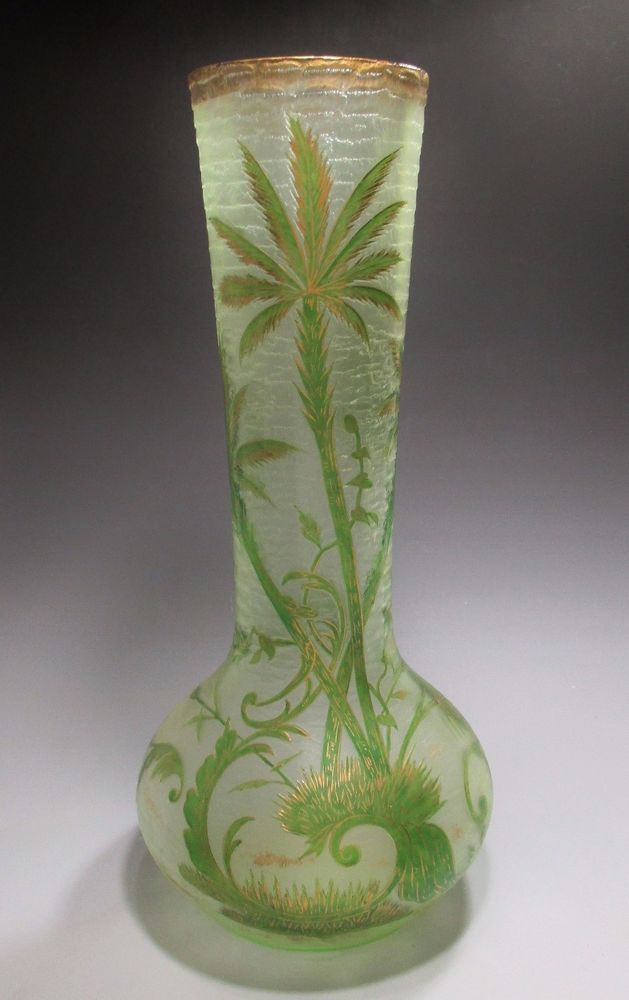 Huge Etched Cameo Palm Tree Art Glass Vase Harrach Mont