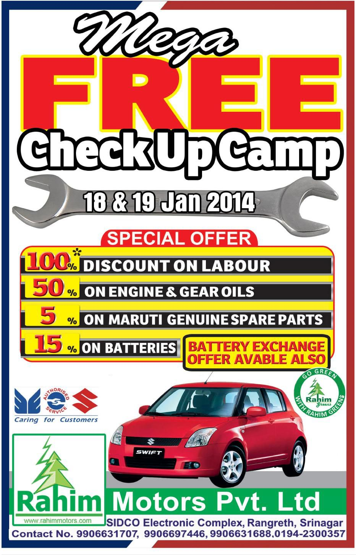 Rahim Motors Is Organising A Mega Free Check Up Camp For All Maruti Suzuki Cars On 18th And 19th Of January 2014 At It Oil Change Honda Bikes India Honda Bikes