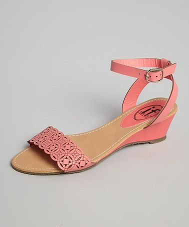 Another great find on #zulily! Coral Laser Cut Wedge Sandal #zulilyfinds