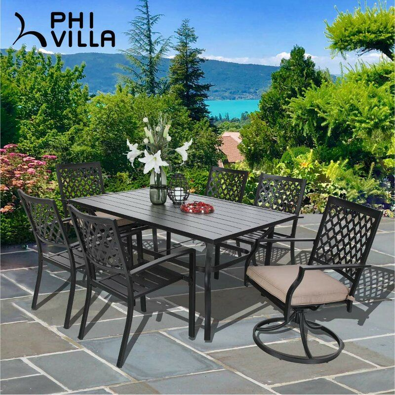 Thibeault 7 Piece Dining Set With Cushions Patio Dining Set Patio 7 Piece Dining Set