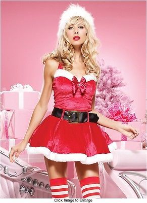 42ca5963261 Sexy Red   White Velvet Christmas Santa Party Costume Dress FREE Matching  Hat