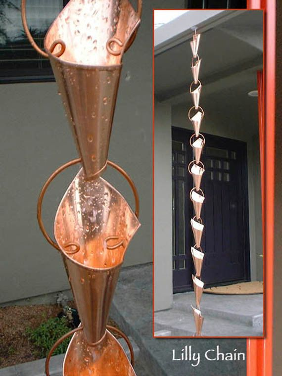 Lily Rain Chain Total Length Eight Feet 139 00 Usd By Rainchainsbysteve Rain Chain Copper Rain Chains Downspout