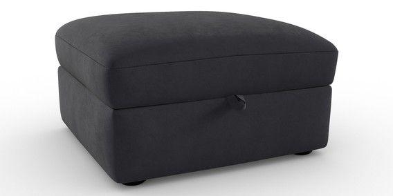 Buy Stratus V Storage Footstool Plush Velvet Charcoal From The