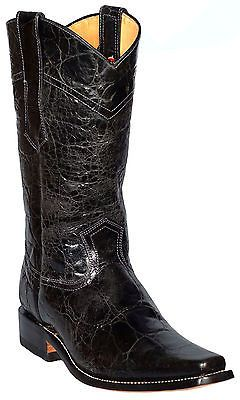 Men's Cowboy Boots Western Harness Exotic Leather Black Designer ...