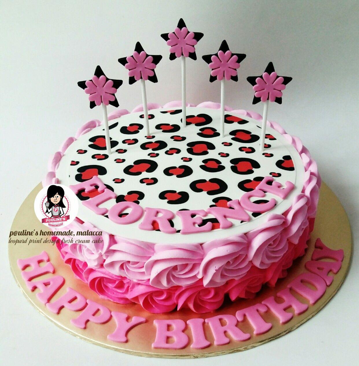 Leopard Print Design Fresh Cream Cake Fresh Cream Cake