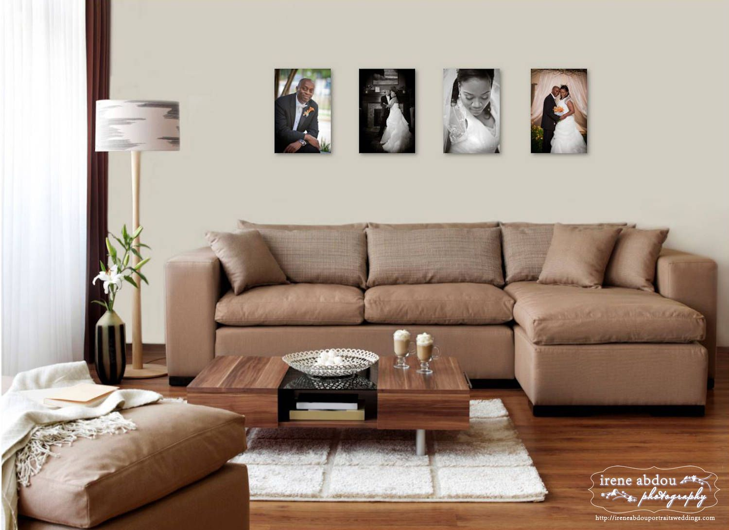 Living Room Wall Picture Frames here are four 12x18 mounted prints displayed on a wall behind a 95