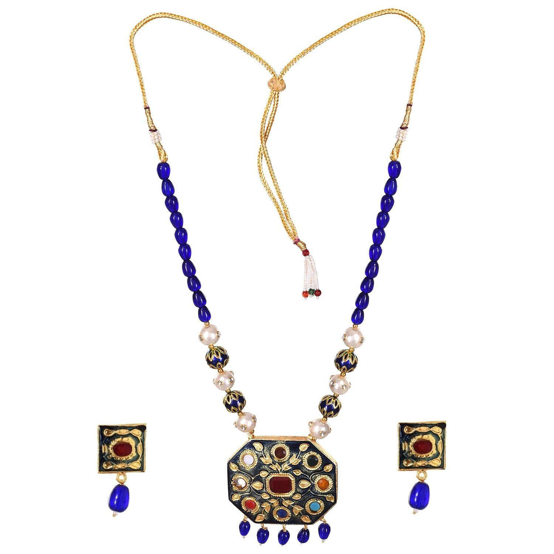 Prakash jewellers indian jaipuri meena or enamel work style navratna