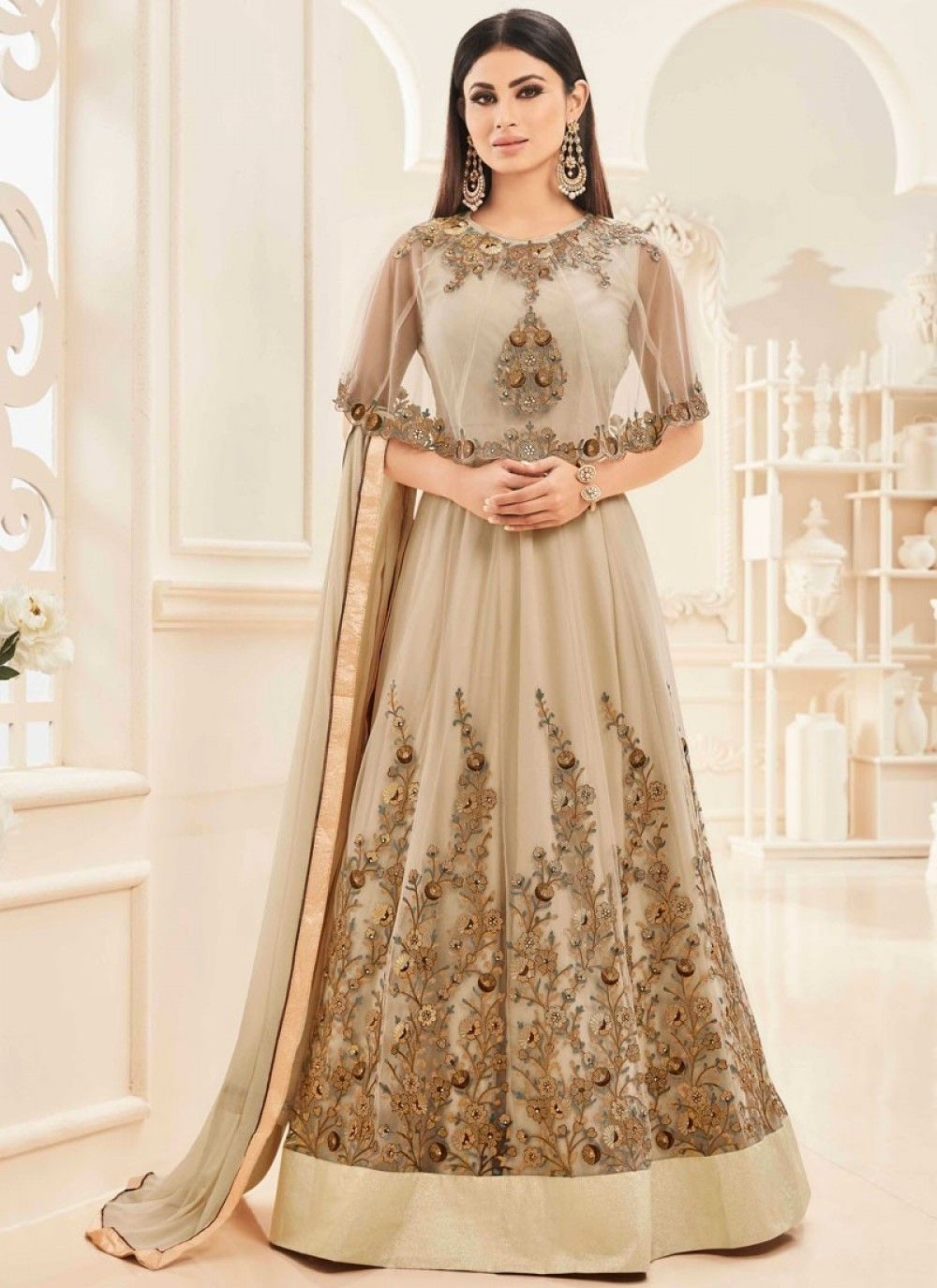 Mouni roy beige floor length anarkali salwar suit shopneez