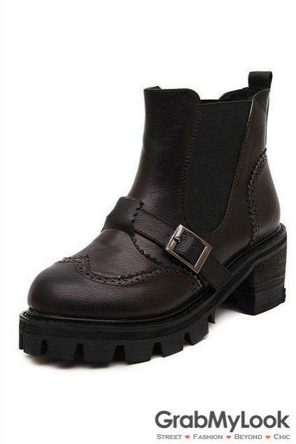Vintage Brown Black Leather Platform Ankle Women Boots Shoes