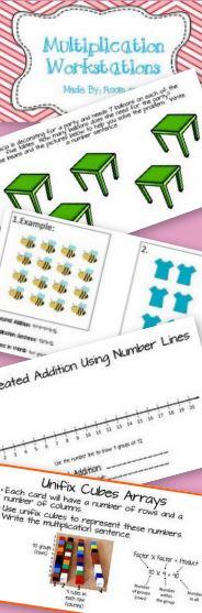 multiplication workstations arrays repeated addition number lines tpt math lessons. Black Bedroom Furniture Sets. Home Design Ideas