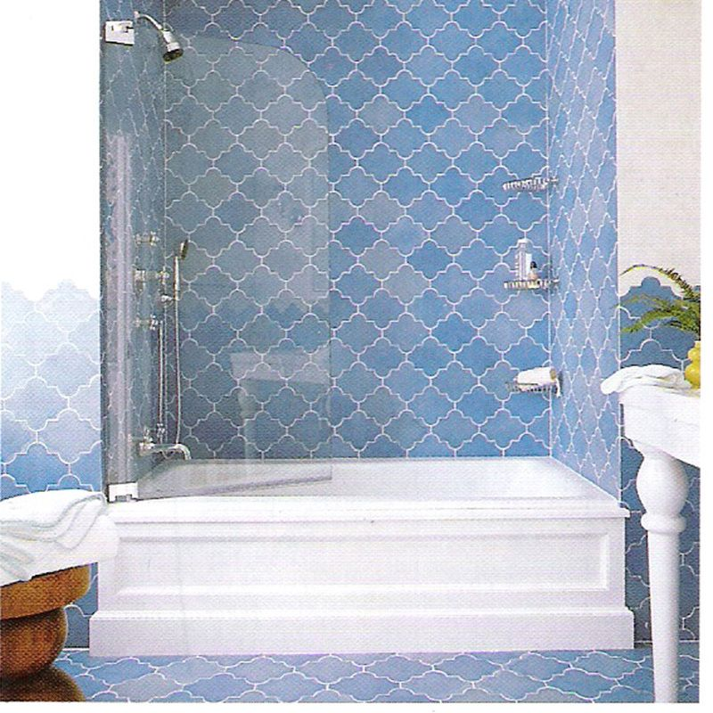 Moroccan Tiled Bathroom With Solid Glass Shower Doors Handmade Tiles