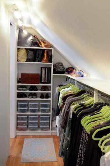 Dressing sous pente sans souci pour sa d co chambre for Deco sous pente