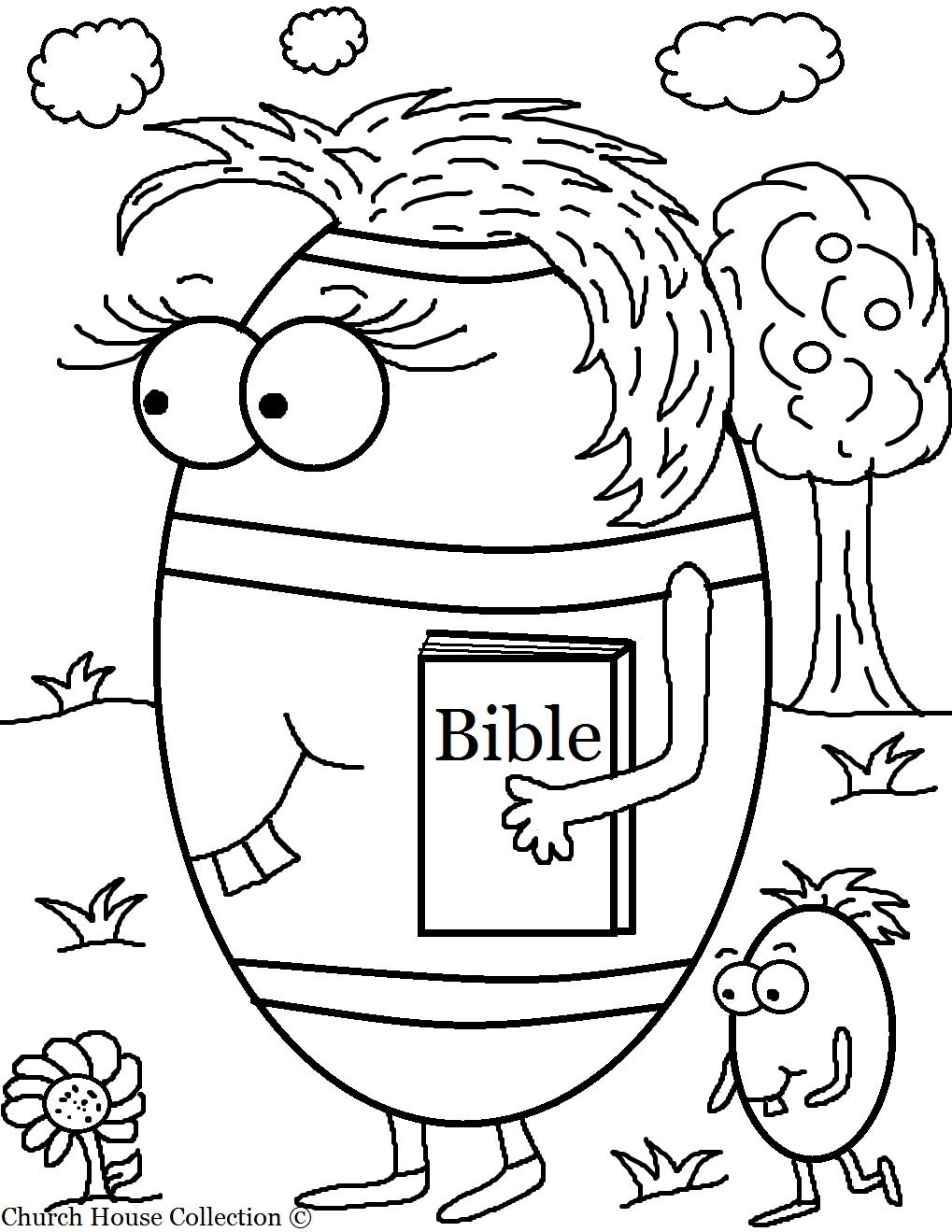 Free Easter Egg Carrying Her Bible Coloring Page For