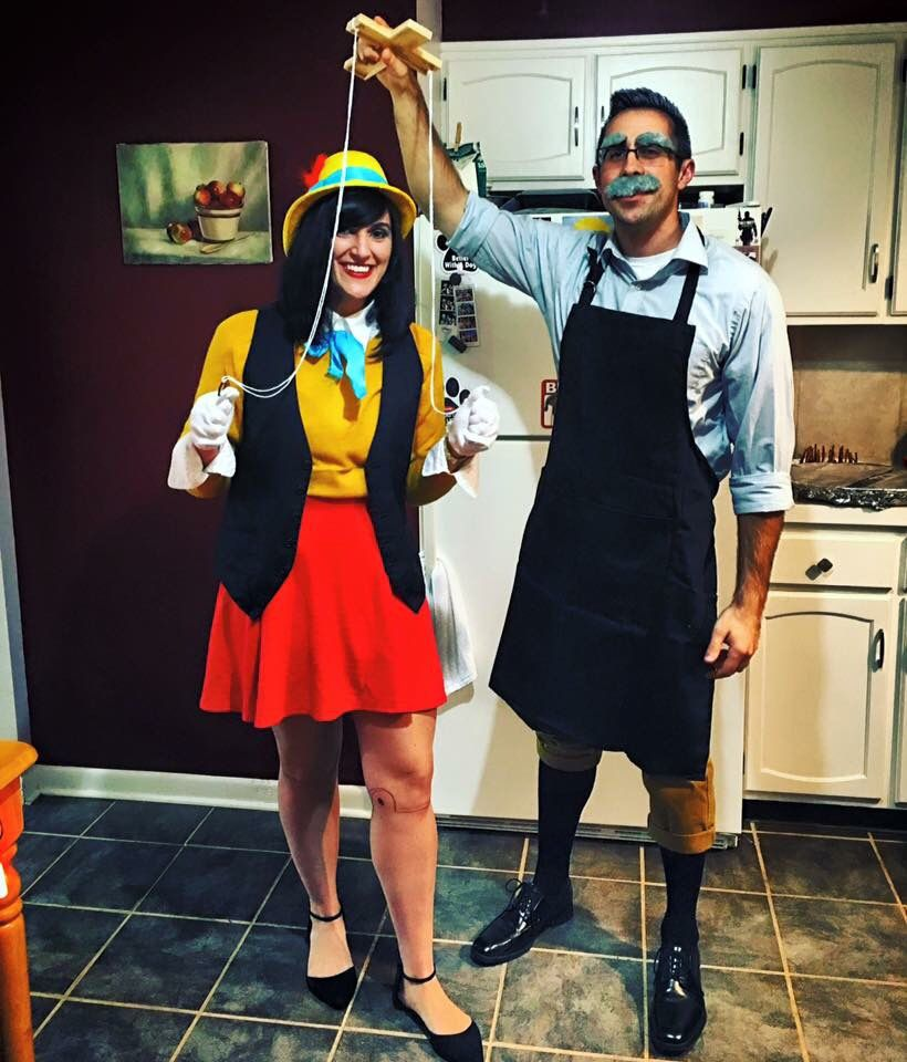 DIY couples costume, Pinocchio & Geppetto, Disney couple costume, homemade costumes, easy inexpensive costume #eatdrinkbecozy #acozyhome