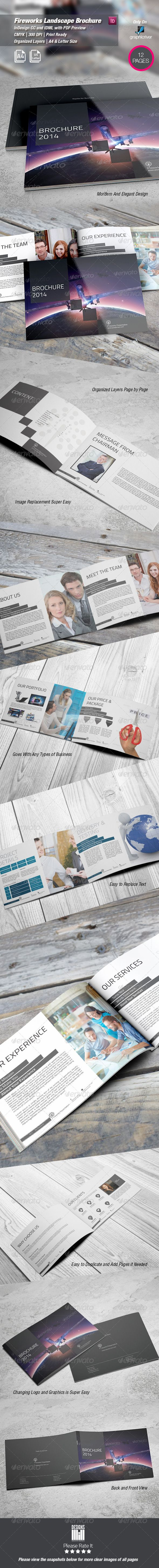 Fireworks Landscape Brochure — InDesign INDD #beautiful #clean • Available here…