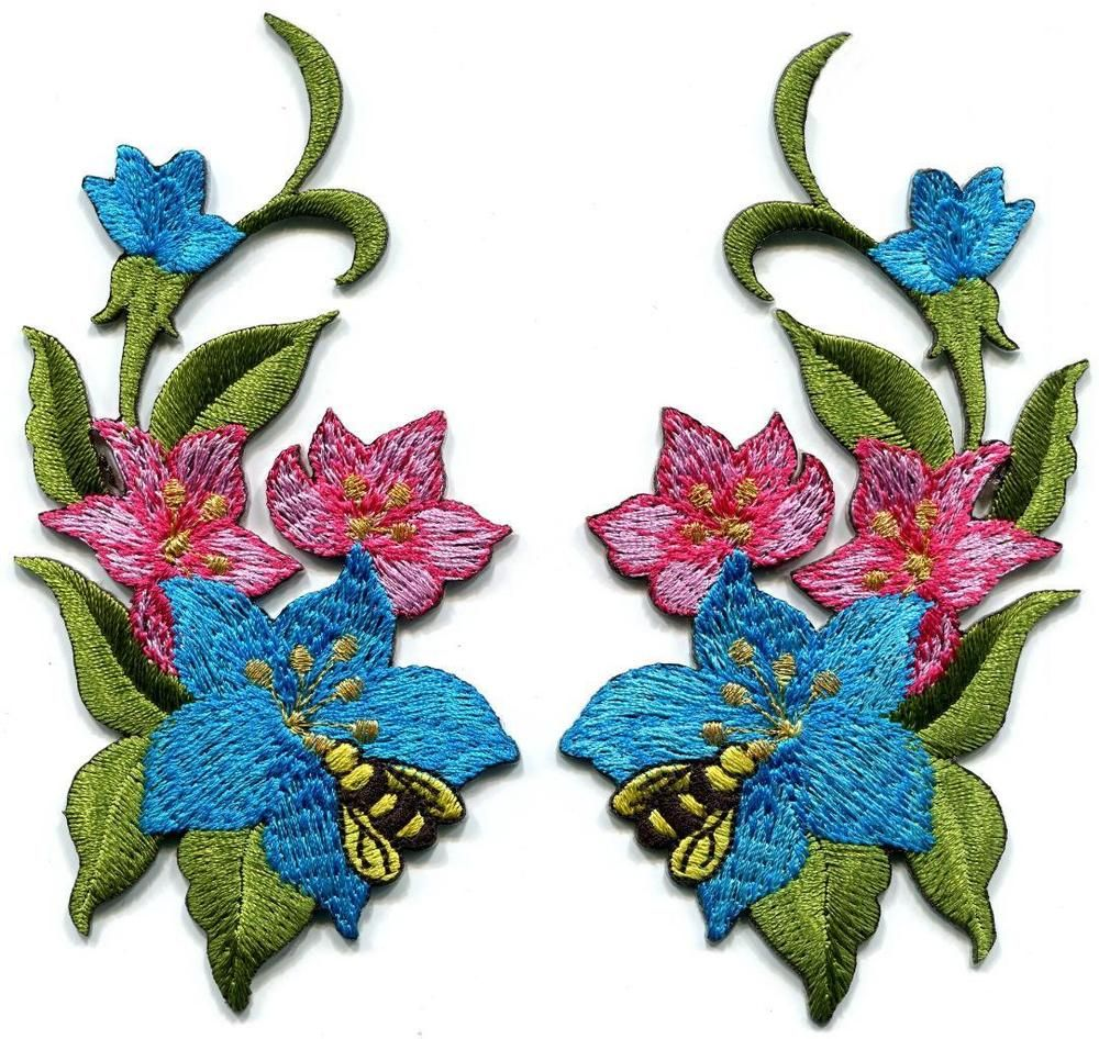 Details about blue pink lilies flowers pair embroidered