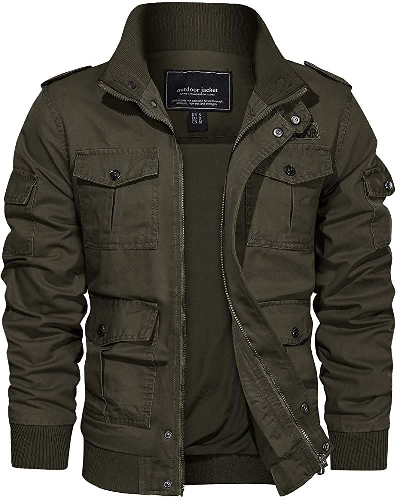 Tacvasen Men S Jackets Lightweight Working Jackets Multi Pockets Army Green S At Amazon Men S Clothing Store Mens Jackets Leather Outerwear Jackets [ 1000 x 794 Pixel ]