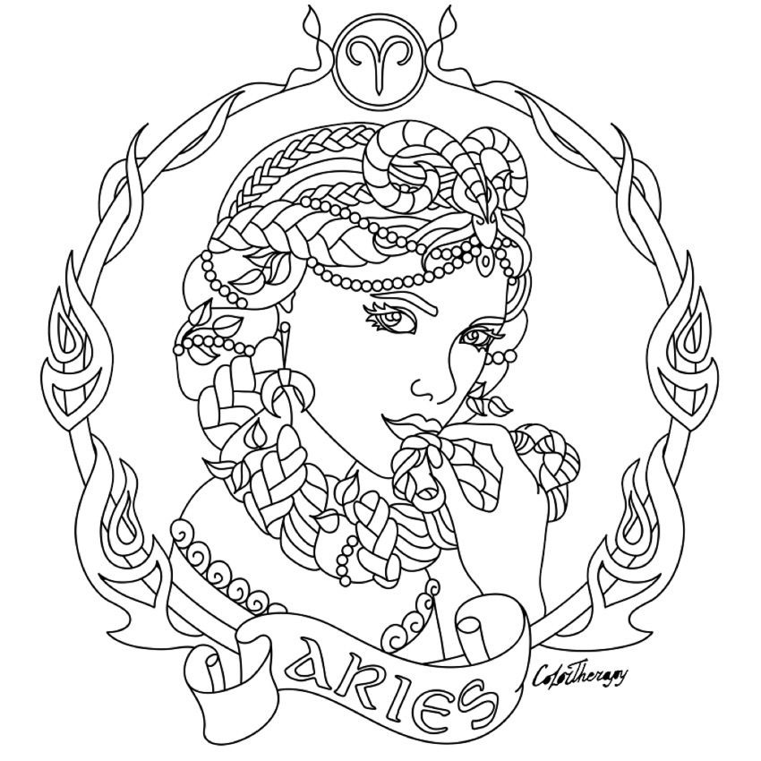 aries zodiac beauty colouring page