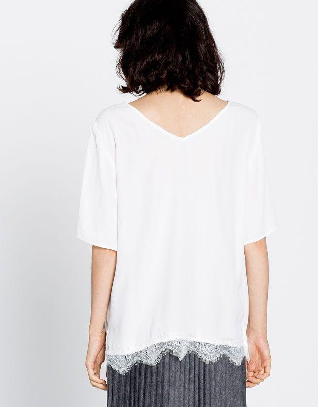 Cuerpo detalles puntilla - Camisetas - Ropa - Mujer - PULL&BEAR España