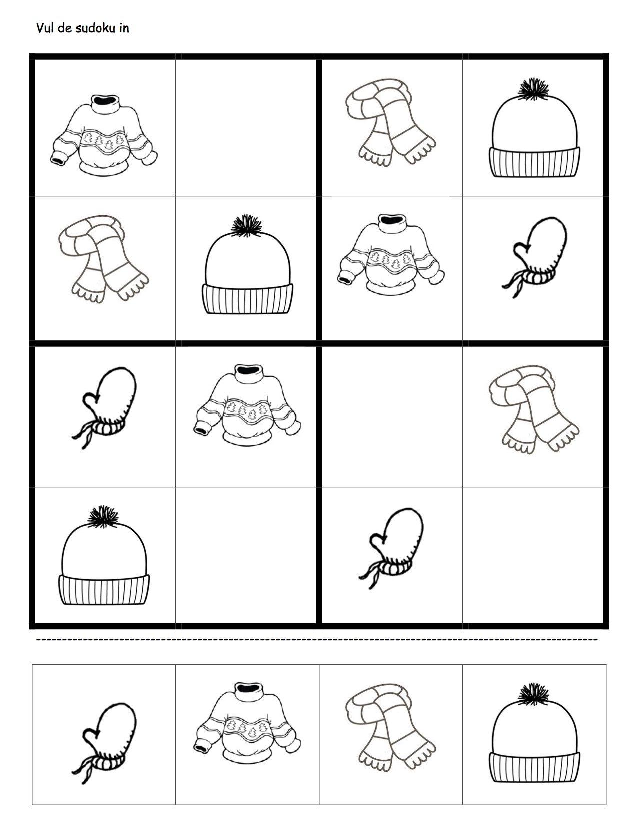 werkblaadje sudoku winterkleding   ember   Pinterest   Logopedia ...
