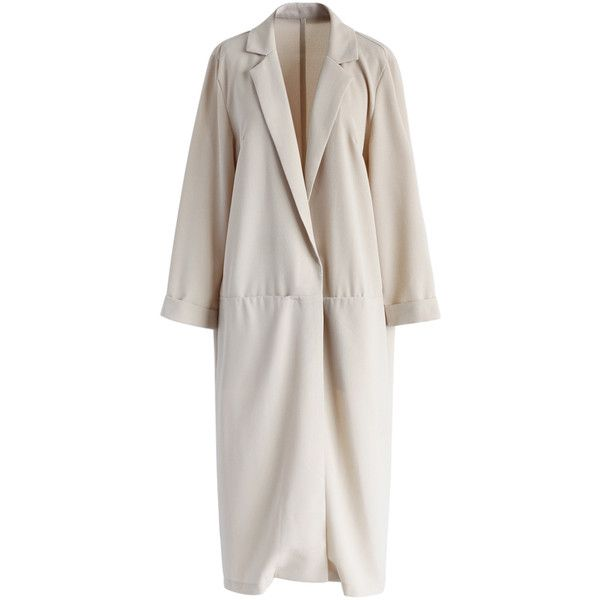 Chicwish Workday Grace Longline Blazer in Beige ($43) ❤ liked on Polyvore featuring outerwear, jackets, blazers, beige, beige blazer, cropped blazer, open front jacket, open front blazer and longline blazer