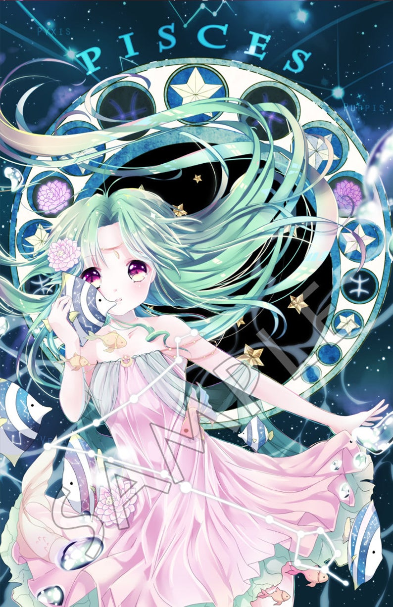 Pisces Zodiacal Constellations Large Print Etsy Anime Zodiac Anime Zodiac Characters