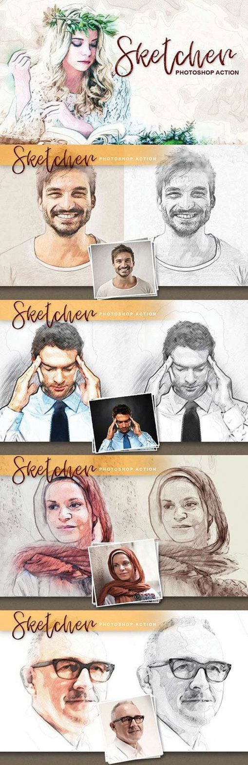 Buy sketcher photoshop action by on graphicriver sketcher thats a tool to easily turn a photo into pencil sketch art