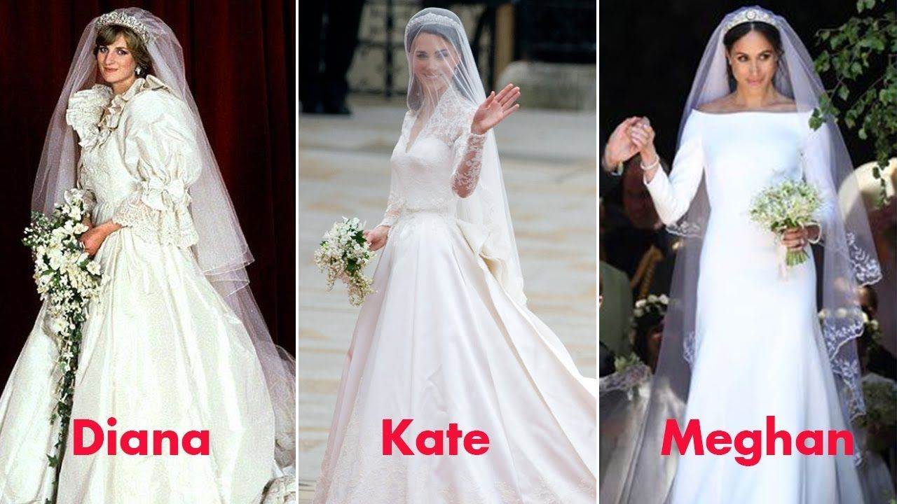 Diana Kate And Meghan Compare The Wedding Gowns Of The Three Royal Pr Princess Kate Wedding Dress Kate Wedding Dress Celebrity Wedding Gowns [ 720 x 1280 Pixel ]