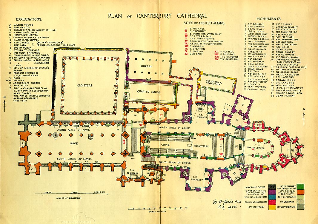 Plan canterbury cathedral begun c 1100 architecture Canterbury floor plan
